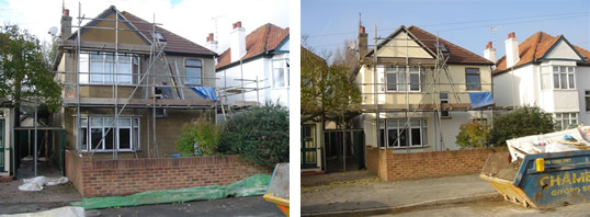 Two storey extension consisting new kitchen, dining room, conservatory, bedroom and en-suite bathroom.
