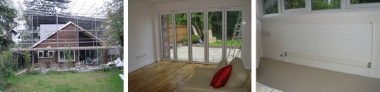 Ground floor extension including made to measure aluminium by-fold doors
